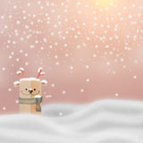 Greeting card, Christmas card or newyear card with Santa Claus ,. Deer and tree with snow and light with free copy space for your wish text Stock Images
