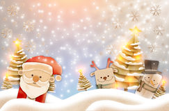 Greeting card, Christmas card or newyear card with Santa Claus ,. Deer and tree with snow and light with free copy space for your wish text Royalty Free Stock Photo
