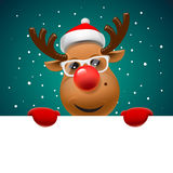 Greeting card, Christmas card with reindeer Royalty Free Stock Photos