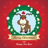 Greeting card, Christmas card with Reindeer. Vector and illustration Stock Photo
