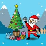 Greeting card, Christmas card with Santa Claus and Christmas Tre. Christmas Tree and Gifts: Cartoon illustration of Christmas tree Royalty Free Stock Image