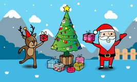 Greeting card, Christmas card with Santa Claus ,Deer and Christm. As Tree Cartoon illustration Stock Photo
