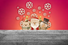 Greeting card, Christmas card with Santa Claus ,deer and snowman. Snowflake Royalty Free Stock Photos