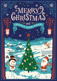 2017 Happy New Year. Greeting card, Christmas card. Greeting card, Christmas card with Santa Claus, Christmas tree and snowman royalty free illustration