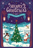 Greeting card, Christmas card with Santa Claus. Christmas tree and snowman vector illustration