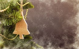 Greeting card Christmas decoration calendar with wooden tree Royalty Free Stock Photo