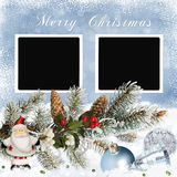 Greeting card with Christmas decorations, pine branches and frames on snowy background Stock Photography