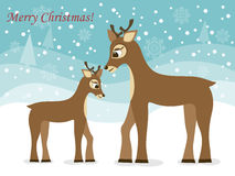 Greeting card with Christmas deers Stock Image