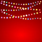 Greeting card for Christmas with a garland of colored light bulb. S, vector illustration Royalty Free Stock Photo
