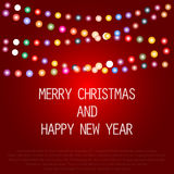 Greeting card for Christmas. With a garland of colored light bulbs, vector illustration Royalty Free Stock Photography
