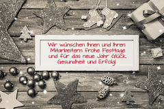 Greeting card for christmas with german text for merry christmas Royalty Free Stock Images