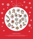 Greeting card with Christmas gingerbreads Stock Photos