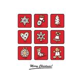 Greeting card with Christmas gingerbreads. Christmas card with Christmas gingerbreads . Vector illustration Royalty Free Stock Photos
