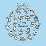Greeting card with Christmas gingerbreads Royalty Free Stock Images