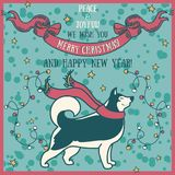 Greeting card for christmas and happy new year with cute smiling husky and retro style decorations. Vector illustration Stock Photo