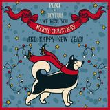 Greeting card for christmas and happy new year with cute smiling husky and retro style decorations. Vector illustration Stock Image