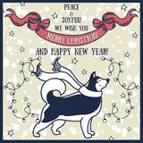 Greeting card for christmas and happy new year with cute smiling husky and retro style decorations Stock Photos