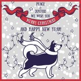 Greeting card for christmas and happy new year with cute smiling husky and retro style decorations. Vector illustration royalty free illustration