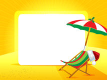 Greeting card with Christmas hat on a yellow background. Greeting card with umbrella, chair and Christmas hat on a yellow background and white space for text Stock Photo
