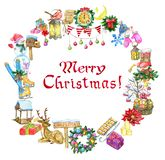 Greeting card with Christmas holiday objects and lettering. royalty free illustration