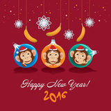 Greeting card with Christmas monkeys. Greeting Card Happy New Year Christmas tree balls with monkeys and bananas Stock Photos