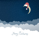 Greeting card with christmas moon. Stock Photos