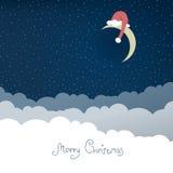 Greeting card with christmas moon. Stock Photos