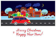 Greeting card with Christmas and New Year Royalty Free Stock Photo
