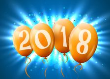 Greeting card 2018 Christmas or new year card with realistic golden balloons and numbers on blue background over a light beams. E. Mail greetings, web stock illustration
