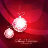 Greeting card for Christmas and New Year celebration. Elegant greeting card design decorated with shiny hanging Xmas Balls for Merry Christmas and Happy New Royalty Free Stock Photos