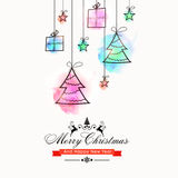 Greeting Card for Christmas and New Year. Creative hanging xmas trees, gift boxes and stars for Merry Christmas and Happy New Year celebration Royalty Free Stock Image