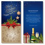 Greeting card for for Christmas and New Year. Festive blue background for Christmas and New Year. Greeting card with ribbon, bow, spruce branches, champagne Stock Photography