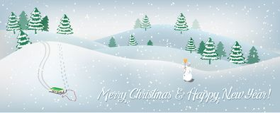 Holiday card with winter landscape. stock images