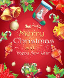 Greeting card with Christmas and New Year with the image of Christmas items Royalty Free Stock Photo