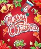 Greeting card with Christmas and New Year. With the image of Christmas items Stock Images