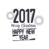Greeting Card for Christmas and New Year. 2017 Merry Christmas and Happy New Year hand drawn lettering design, Creative typographic background, Can be used as Stock Image