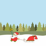 Greeting card for christmas, new year. Vector Santa Claus Royalty Free Stock Images
