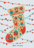 Greeting card with Christmas sock. Vector Royalty Free Stock Photography