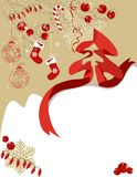 Greeting card with Christmas symbols Stock Images