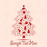 Christmas greeting card with Christmas elements and space for text. Greeting card, Christmas theme, New Year, festive Christmas tree made up of gifts, Christmas Royalty Free Stock Images