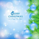 Greeting card with Christmas tree and blue balls. This is file of EPS10 format Stock Illustration