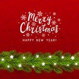 Greeting card with Christmas tree. Border royalty free illustration