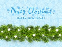 Greeting card with Christmas tree border. On blue background Royalty Free Illustration