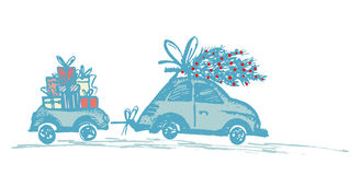 Greeting card with Christmas tree on car roof and car trailer with xmas gifts. Blue silhouette on white background. Draw by hand sketch . Vector illustration Royalty Free Stock Image