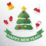 Greeting Card with Christmas tree. Congratulations on New year. Royalty Free Stock Image