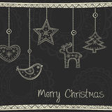 Greeting card with Christmas tree decoration Stock Photos