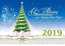 Celebration New Year 2019. Christmas tree with fireworks. Greeting card with Christmas tree with fireworks on blue background stock illustration