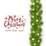 Greeting card with Christmas tree. Border stock illustration