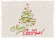 Greeting card with Christmas tree. Grunge retro style greeting card with Christmas tree and hand written lettering in Christmas colors. Vector illustration Stock Photography