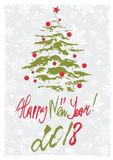 Greeting card with Christmas tree. Grunge retro style greeting card with Christmas tree and hand written lettering in Christmas colors. Vector illustration Royalty Free Stock Photography